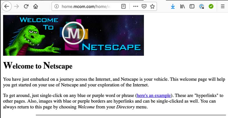 NNetscape Website from 1996