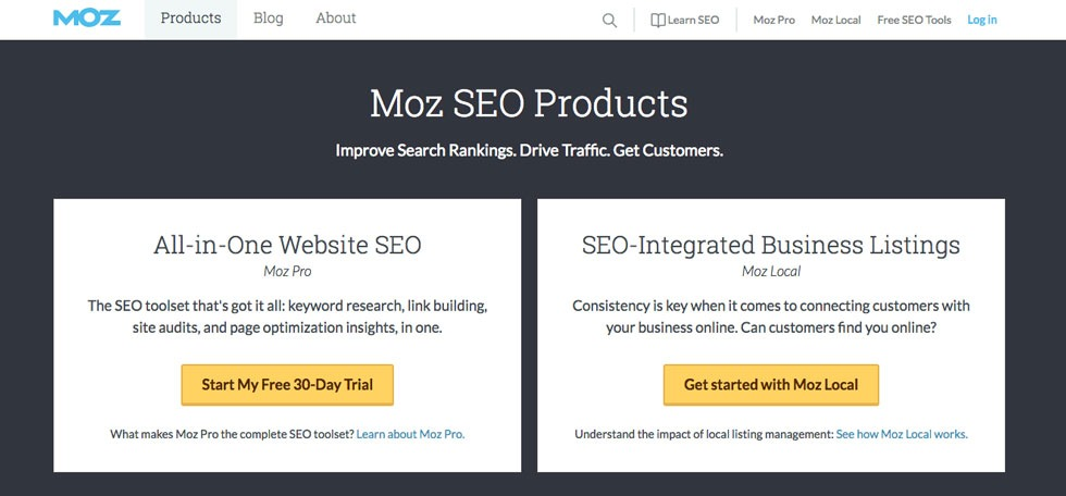 Moz.com product page